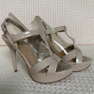 Strappy nude color sexy heels
